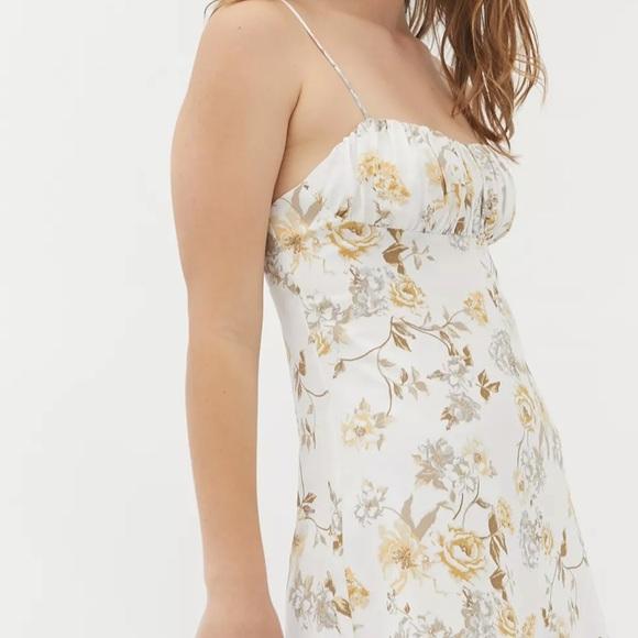 UO lexington empire waist mini dress white floral